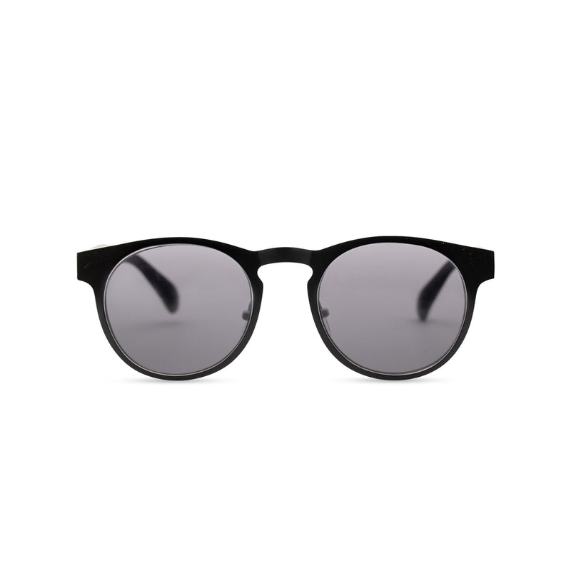 Front view of black sunglasses GAL Ibiza style thin metal frame and white inner