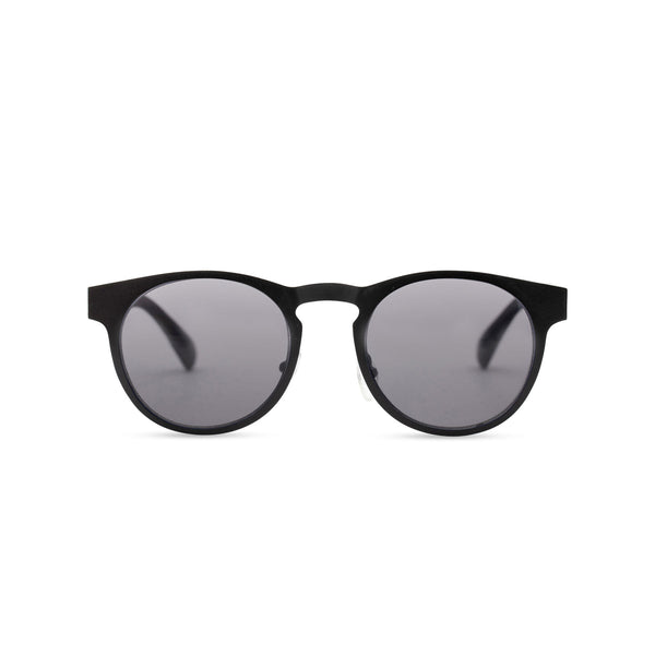 Front view of black sunglasses GAL Ibiza style thin metal frame