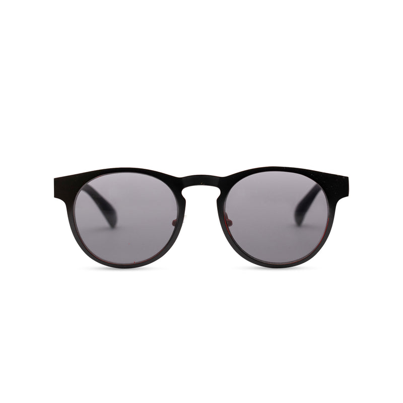Front view of black sunglasses GAL Ibiza style thin metal frame and red inner