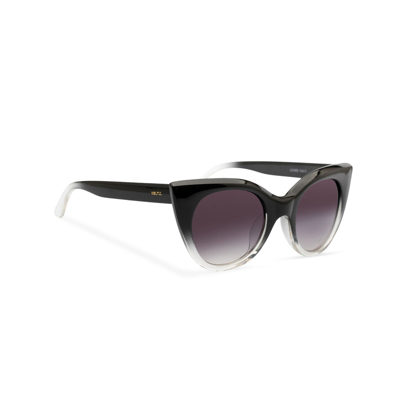 side view of SOLFUL Ibiza GATA cat eye sunglasses black and transparent frame