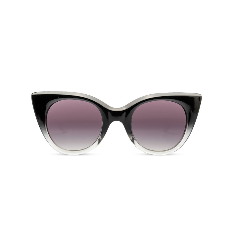 SOLFUL Ibiza GATA cat eye sunglasses black and transparent plastic frame front