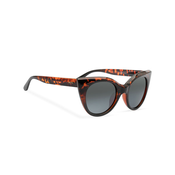 side view of SOLFUL Ibiza GATO cat eye sunglasses Tortoiseshell frame