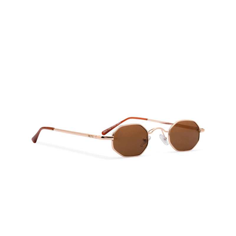 Side view small hexagon metal frame sunglasses with gold brown lens HEXMEX SOLFUL Ibiza