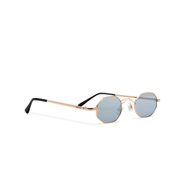 Side view small hexagon metal frame sunglasses with grey lens HEXMEX SOLFUL Ibiza