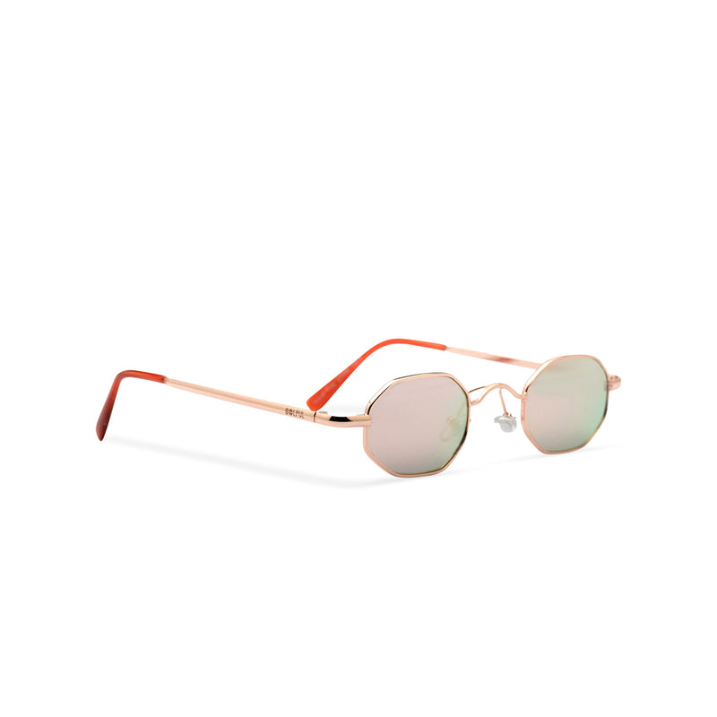 Small hexagon metal frame sunglasses with pink mirror lens HEXMEX SOLFUL Ibiza