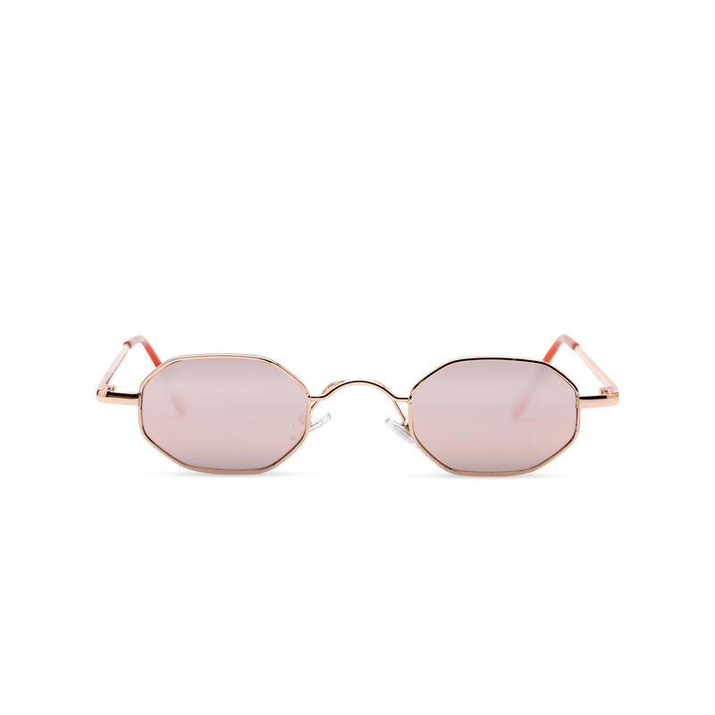 Side view small hexagon metal frame sunglasses with pink lens HEXMEX SOLFUL Ibiza