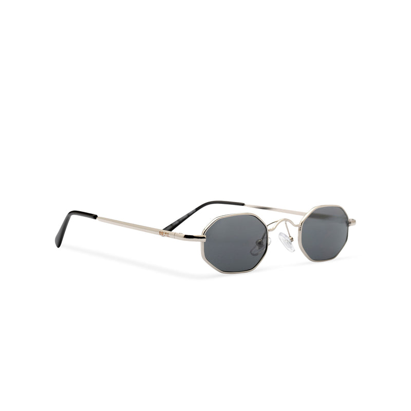 Side view small hexagon metal frame sunglasses with dark lens HEXMEX SOLFUL Ibiza