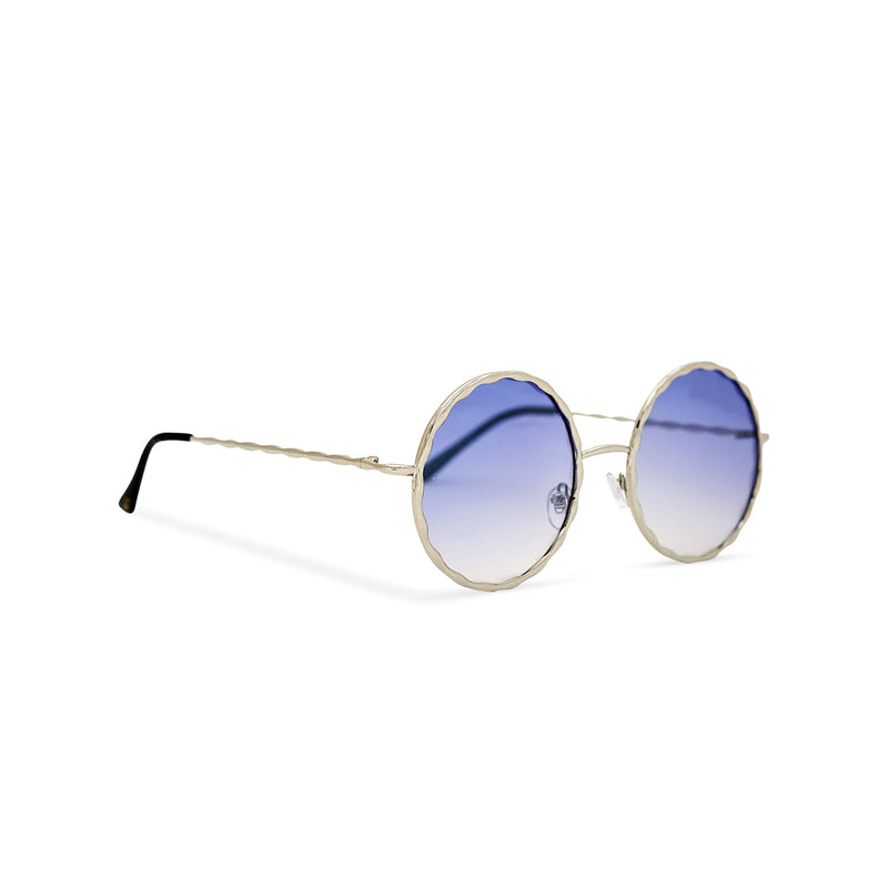 Side view Janis Joplin inspired embellished hippie vintage retro round sunglasses with blue gradient lens