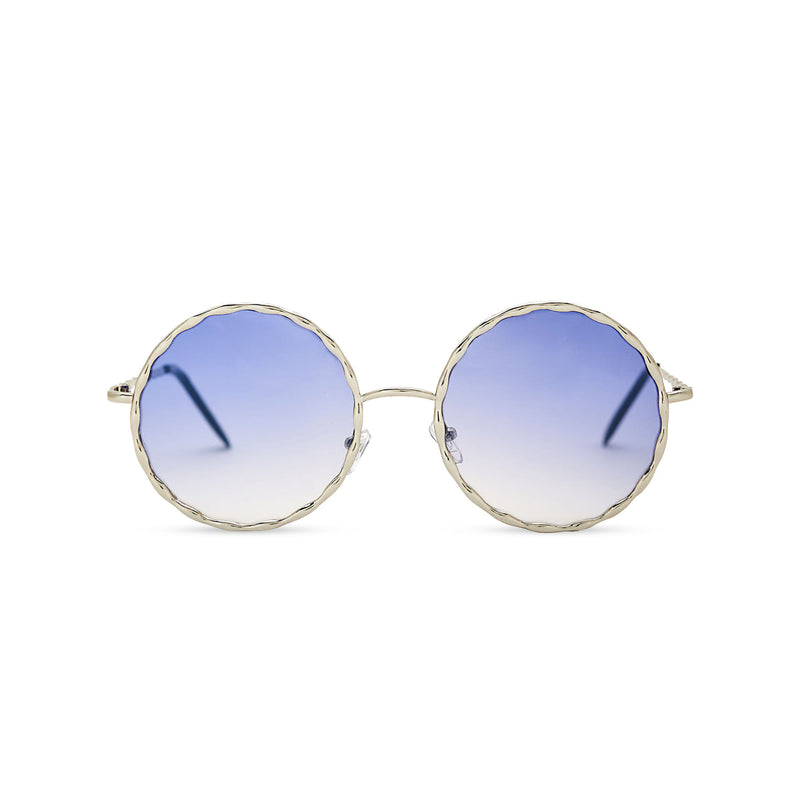 Janis Joplin inspired embellished hippie vintage retro round sunglasses with blue gradient lens