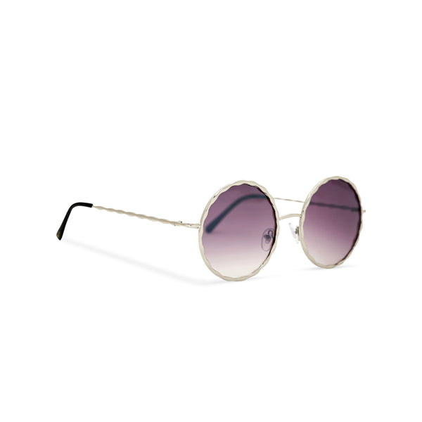 Side view Janis Joplin inspired embellished hippie vintage retro round sunglasses with purple gradient lens