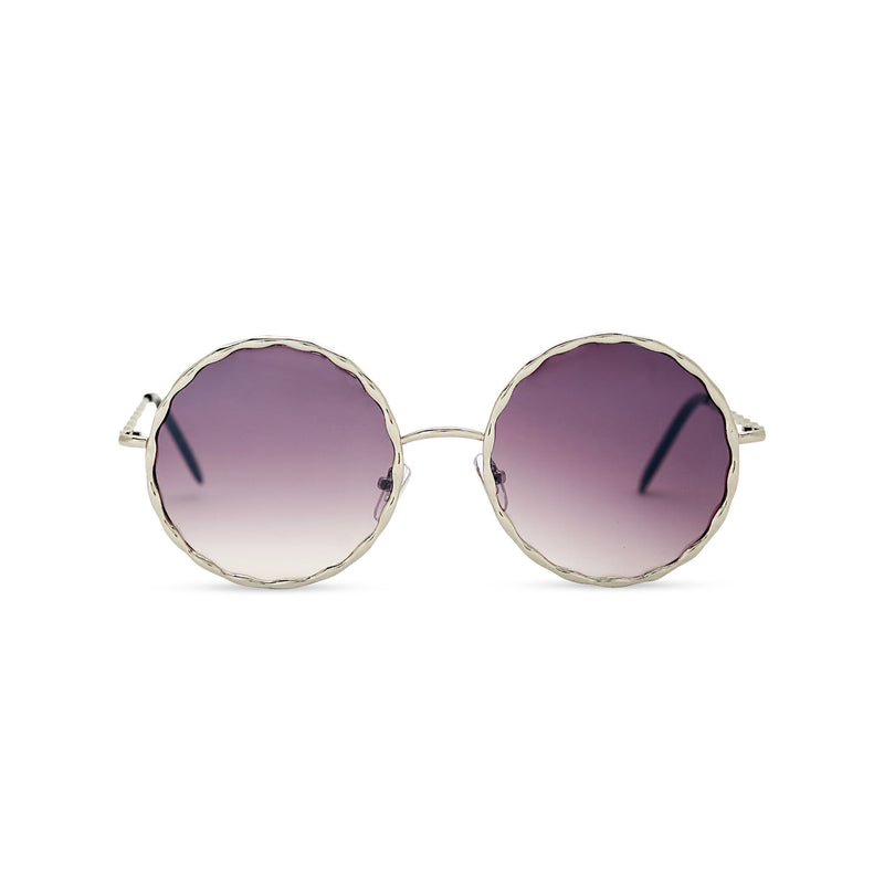 Janis Joplin inspired embellished hippie vintage retro round sunglasses with purple gradient lens