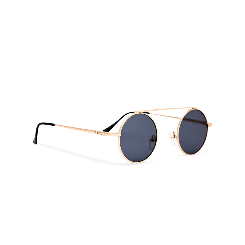 John Lennon sunglasses with gold metal frame and black round lenses angle shot