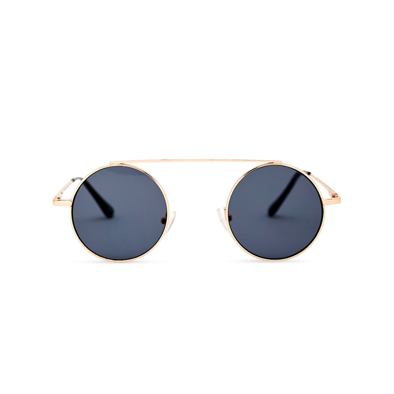 John Lennon round sunglasses with gold metal frame and black lens by SOLFUL Ibiza