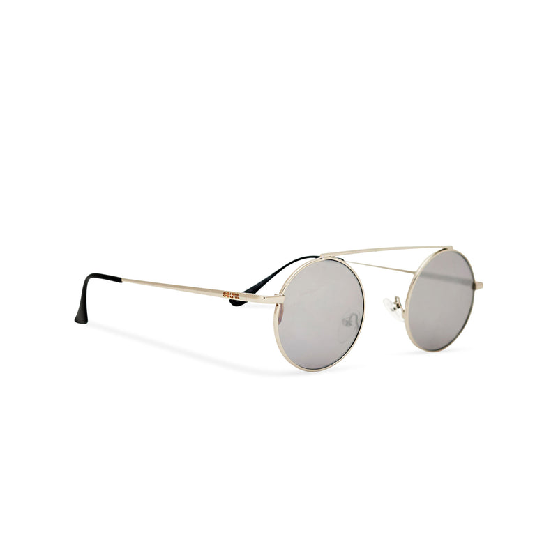 Retro hippie John Lennon sunglasses with golden metal frame and small grey round lenses angle shot