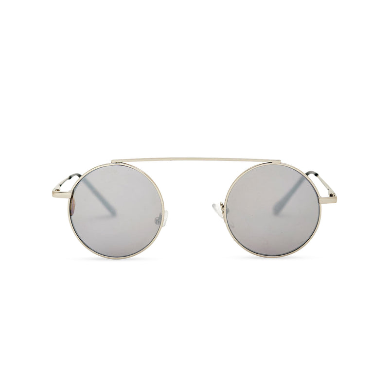 Retro hippie John Lennon sunglasses with golden metal frame and small grey round lenses