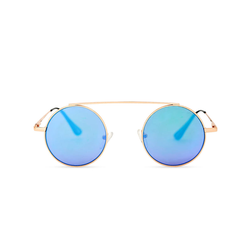 John Lennon inspired small round blue sunglasses with gold metal frame