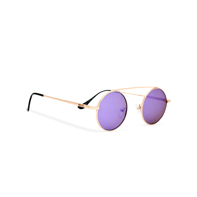SOLFUL Ibiza John Lennon style small round purple sunglasses with gold metal frame