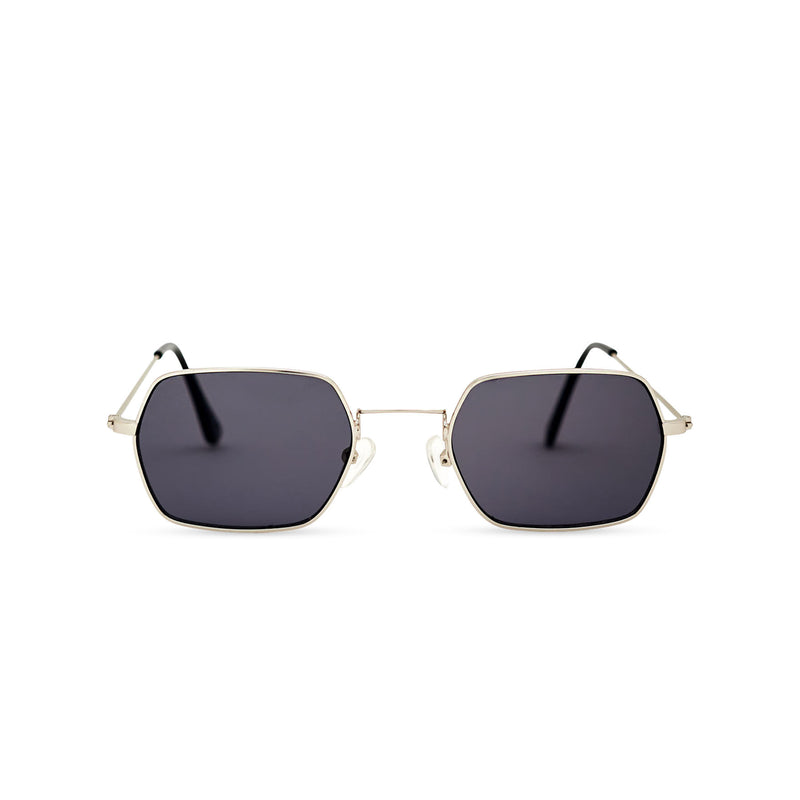 JOKER Small dark hexagonal sunglasses with gold metal frame for women and men unisex by SOLFUL Ibiza