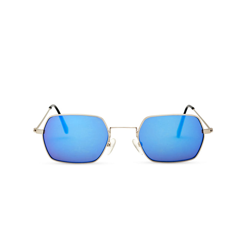 JOKER Small blue hexagonal sunglasses with gold metal frame for women and men unisex by SOLFUL Ibiza