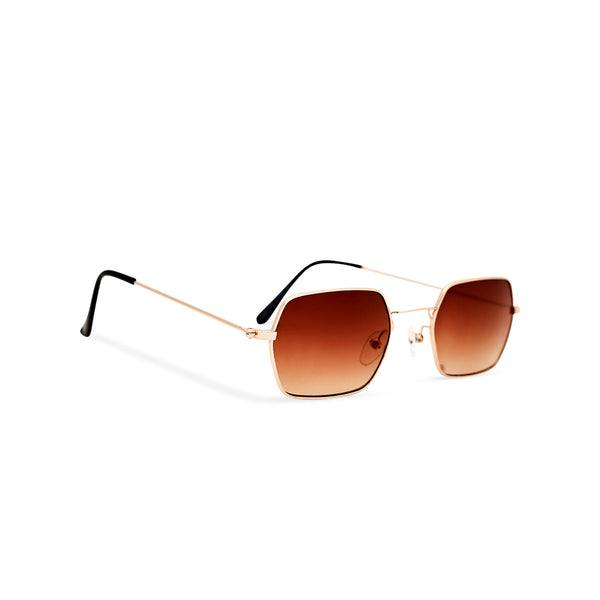 Angle shot JOKER Small brown hexagonal sunglasses with gold metal frame for women and men unisex