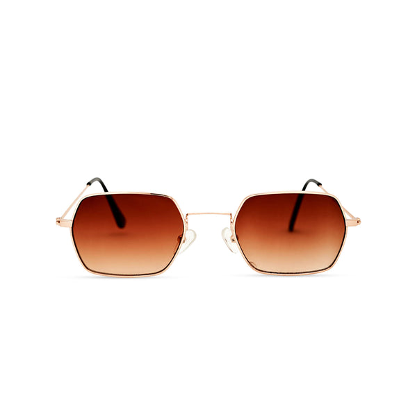 JOKER Small brown hexagonal sunglasses with gold metal frame for women and men unisex by SOLFUL Ibiza