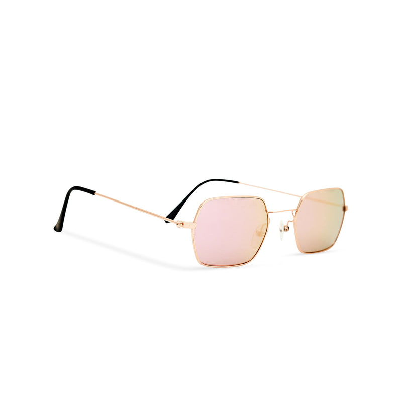 Angle shot JOKER Small pink hexagonal sunglasses with gold metal frame for women and men unisex