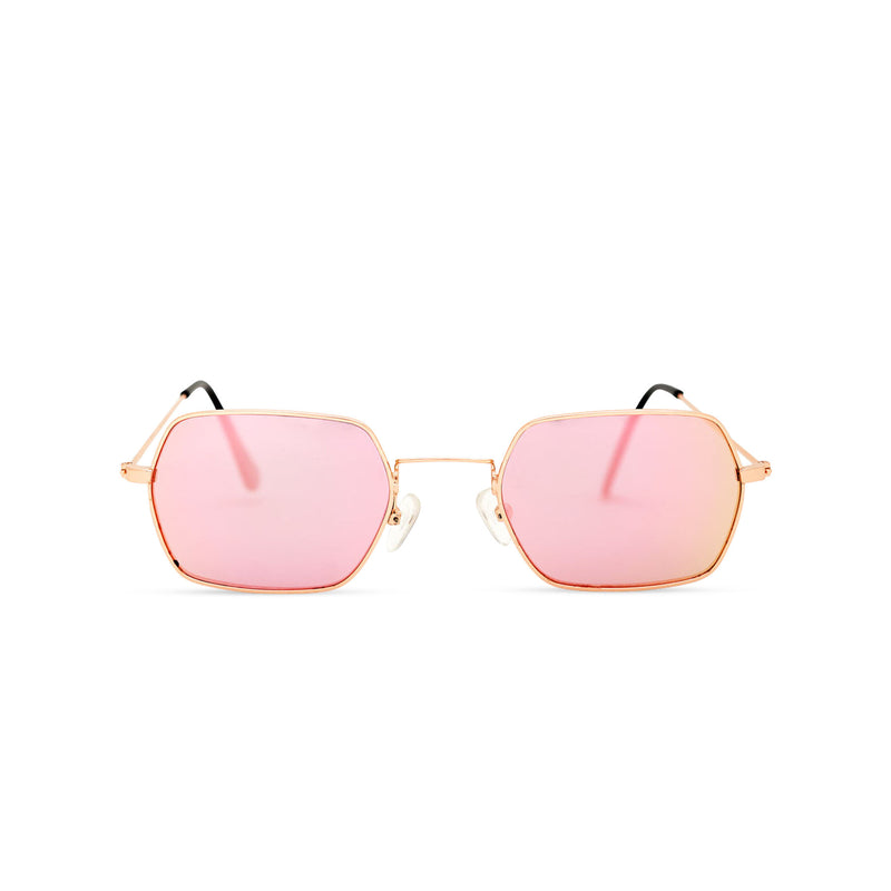 JOKER Small pink hexagonal sunglasses with gold metal frame for women and men unisex by SOLFUL Ibiza