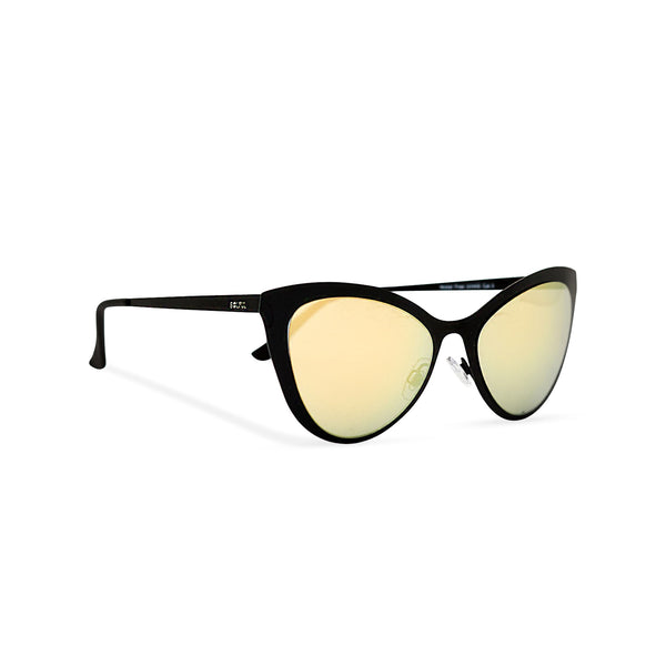 Side view black front cat eye sunglasses with metal frame and violet colorful lenses LADIVA