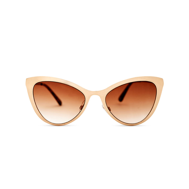 light gold front cat eye sunglasses with metal frame and brown lenses LADIVA by SOLFUL Ibiza