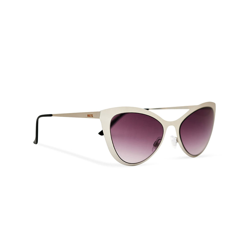 Side view grey silver front cat eye sunglasses with metal frame and violet purple lenses LADIVA