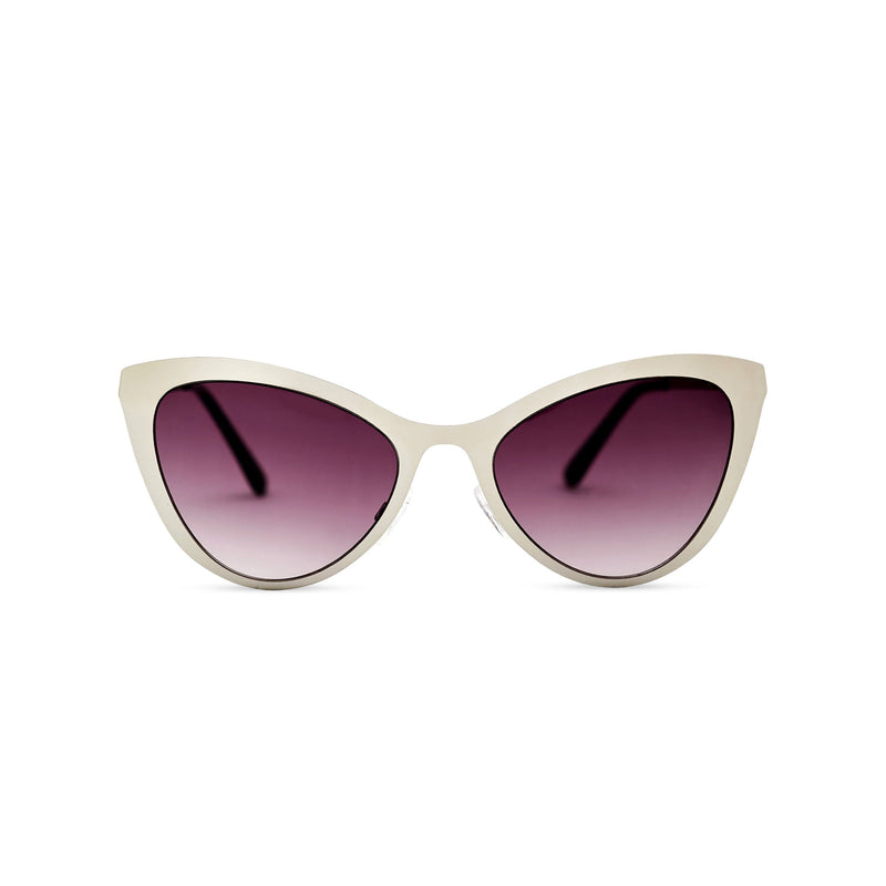 Grey silver front cat eye sunglasses with metal frame and violet purple lenses LADIVA by SOLFUL Ibiza