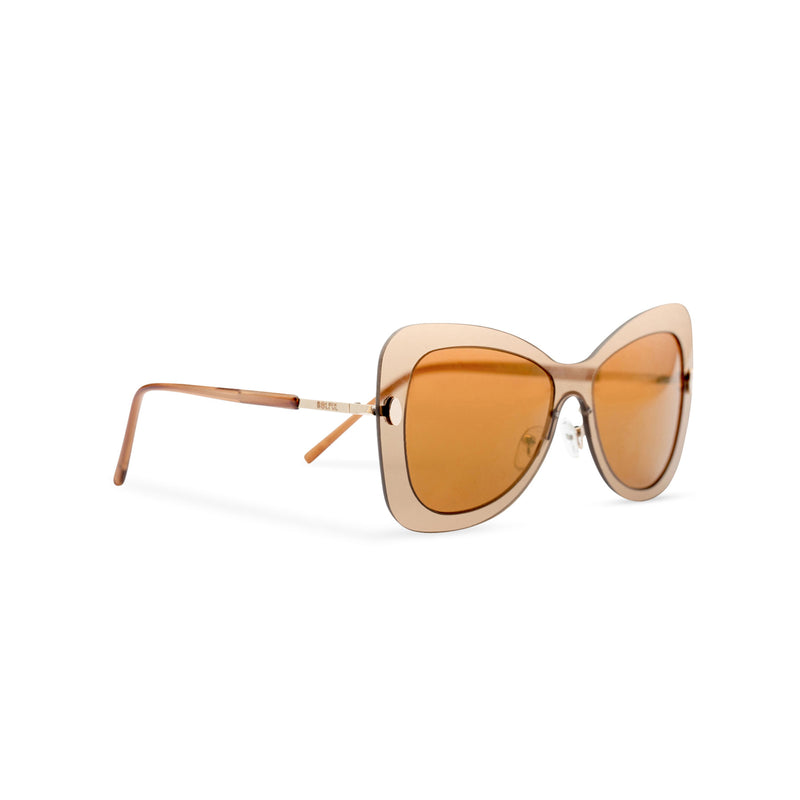 Side view butterfly big Ibiza sunglasses with transparent gold frame and golden lenses MARIPOSA
