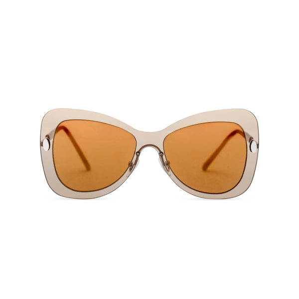 Front view butterfly big Ibiza sunglasses with metal frame and transparent brown lenses MARIPOSA