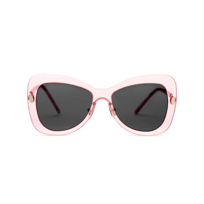 Front view butterfly big Ibiza sunglasses with transparent pink frame and black lenses MARIPOS