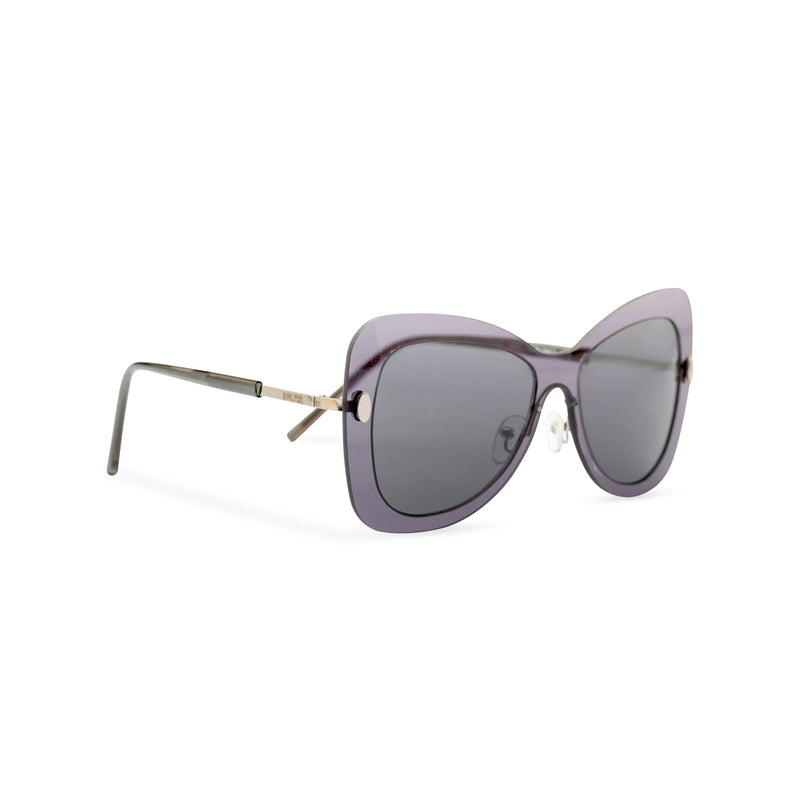 Side view butterfly big Ibiza sunglasses with transparent dark frame and black lenses MARIPOSA