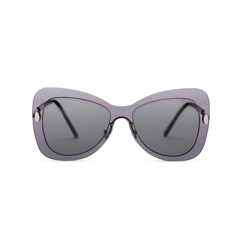 Front view butterfly big Ibiza sunglasses with transparent metal frame and black lenses MARIPOSA