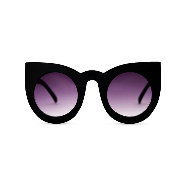 Black women cat eye sunglasses from solid plastic and purple purple lens by SOLFUL