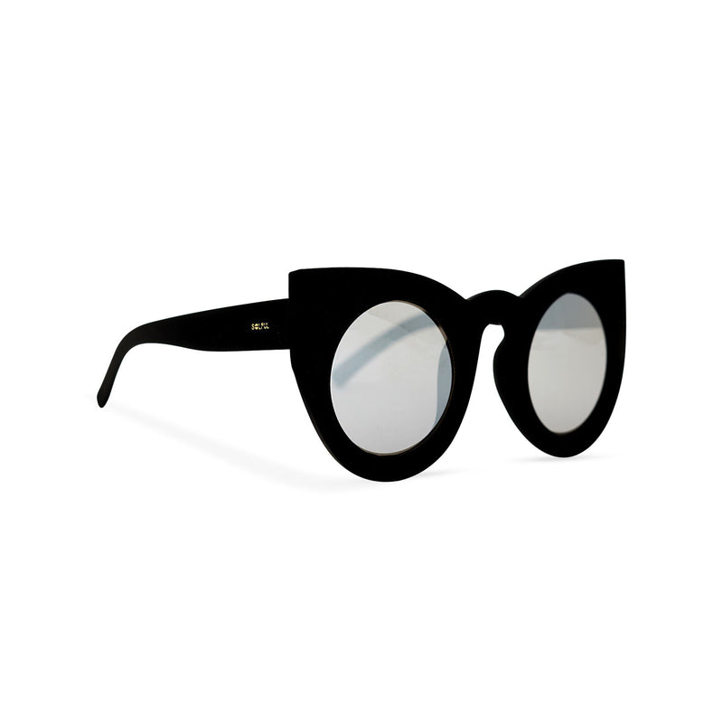 Side black round women cat eye sunglasses from solid plastic and smoky lens by SOLFUL Ibiza