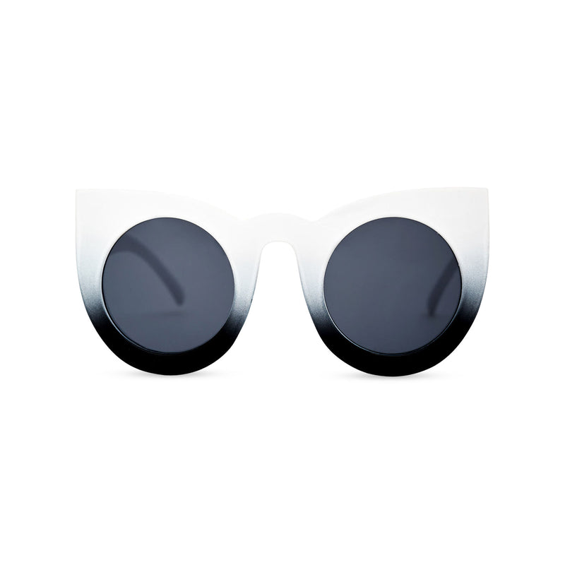 Black and white women cat eye sunglasses from solid plastic and dark lens by SOLFUL