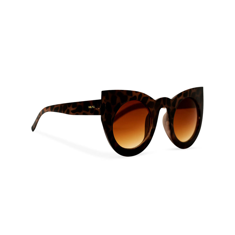 MEOW Big round cat eye Havana leopard tortoise sunglasses women's with a brown lens side view