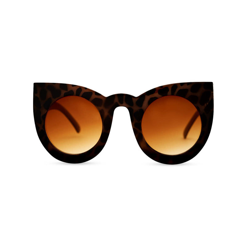 MEOW Big round cat eye Havana leopard tortoise sunglasses women's with a brown lens by SOLFUL