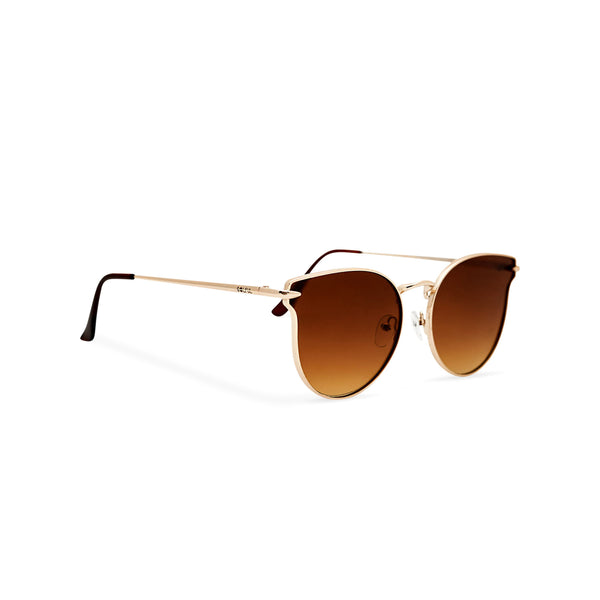 Side view thin golden metal rims cat eye sunglasses with brown gradient lenses for women by SOLFUL