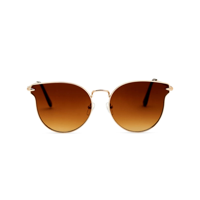 Thin golden metal rims cat eye sunglasses with brown gradient lenses for women by SOLFUL Ibiza