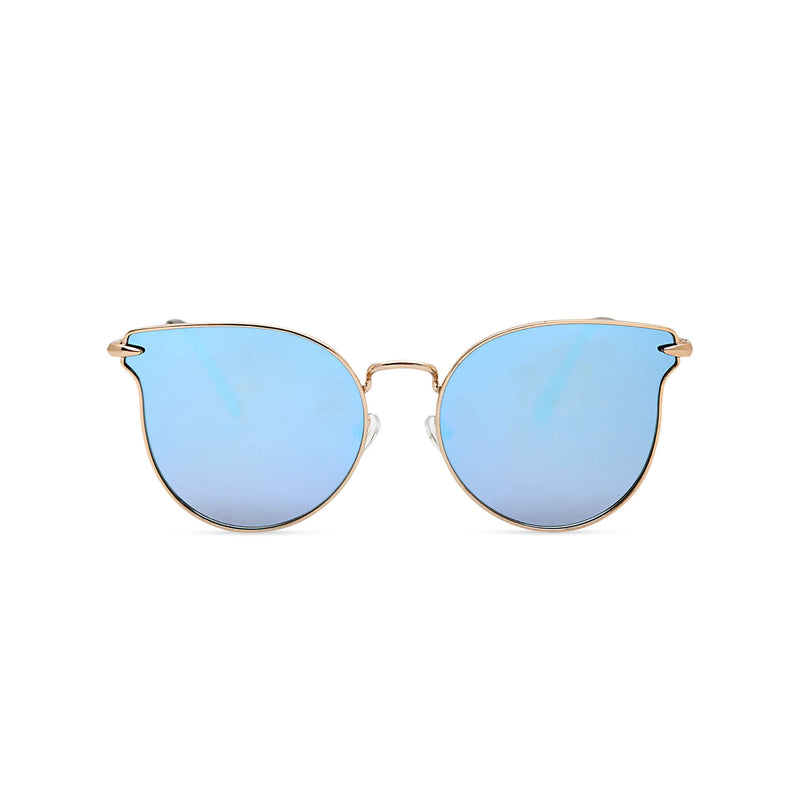 Thin golden metal rims cat eye sunglasses with blue mirror lenses for women by SOLFUL Ibiza