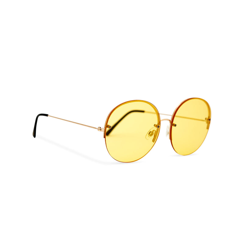 Women oversized hippie sunglasses with metal frame and yellow gradient transparent lens PEACE side view by SOLFUL