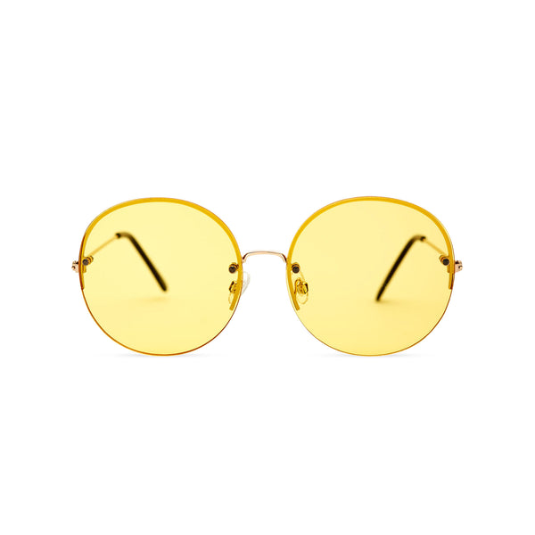 Women oversized hippie sunglasses with metal frame and yellow gradient transparent lens PEACE by SOLFUL Ibiza