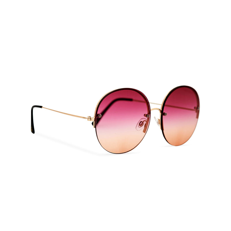 Women oversized hippie sunglasses with metal frame and red-orange gradient transparent lens PEACE side view