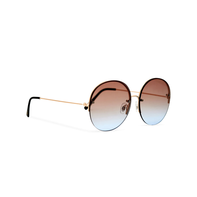 Women oversized hippie sunglasses with metal frame and brown-blue gradient transparent lens PEACE side view