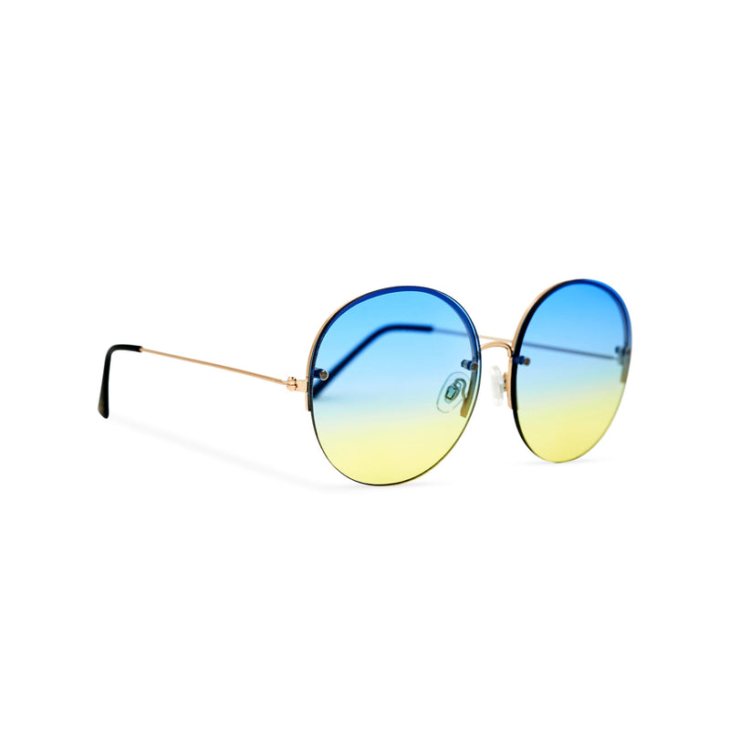 Women oversized hippie sunglasses with metal frame and blue-yellow gradient transparent lens PEACE side view