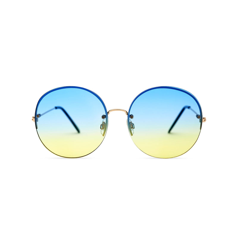 Women oversized hippie sunglasses with metal frame and blue-yellow gradient transparent lens PEACE by SOLFUL Ibiza